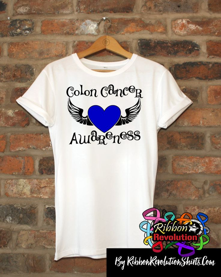 Colon Cancer Awareness Heart Tattoo Wing Shirts