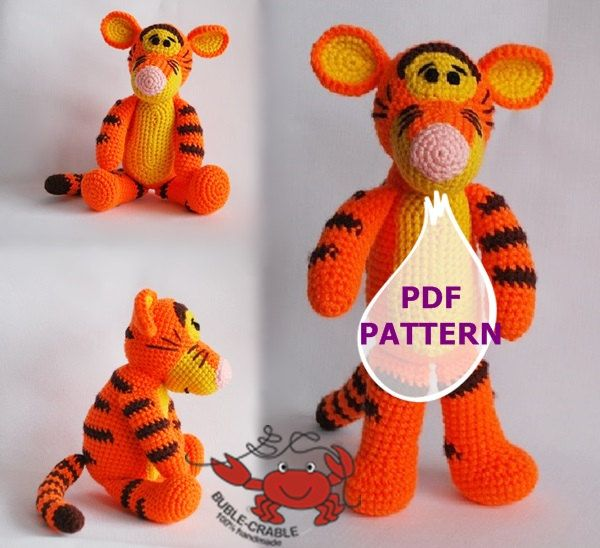 Amigurumi tigger pattern, PDF pattern, crochet pattern. by BubleCrable on Etsy