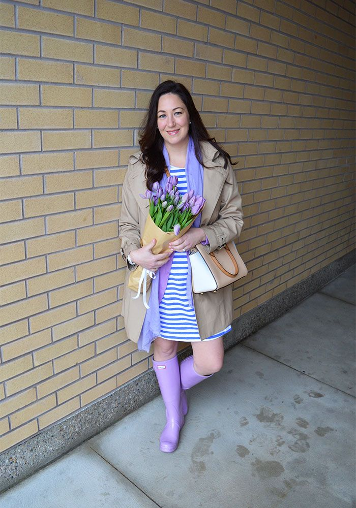 Celebrating this Life: Spring in January @lillypulitzer Purple Hunter Boots, Lilly Pulitzer briella dress, Michael Kors trench coat and purse, GAP sweater, Calvin Klein scarf