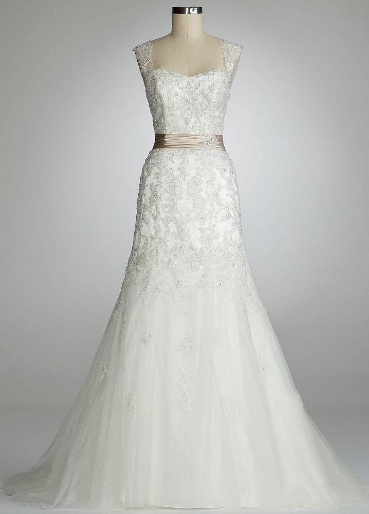davids bridal weddings dress, lace | 123325 Davids Bridal Wedding Dress Cap Sleeve Beaded Lace Mermaid ...