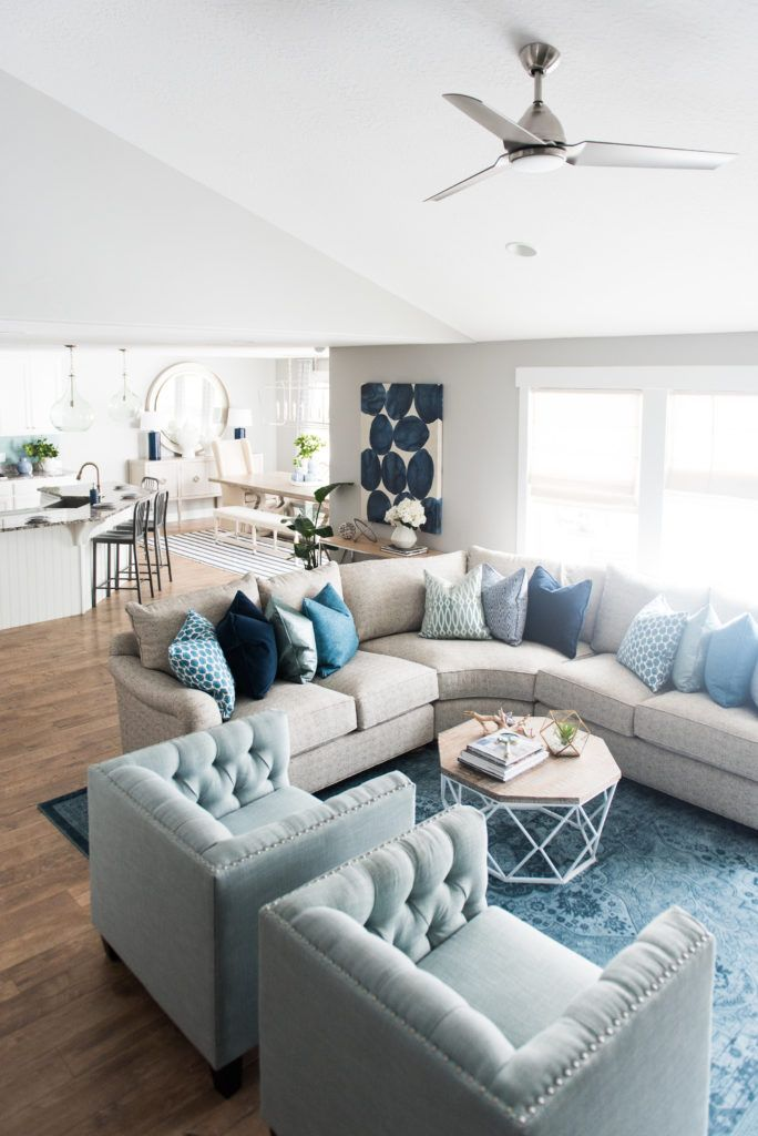 Full home makeover for April & Davey! Product links on the blog. Love the subtle, calming tones of the blues in this bright and airy great room.