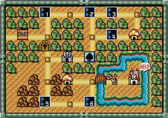Super Mario Bros 3 Cross Stitch World 1 Mario Map Pdf Pattern