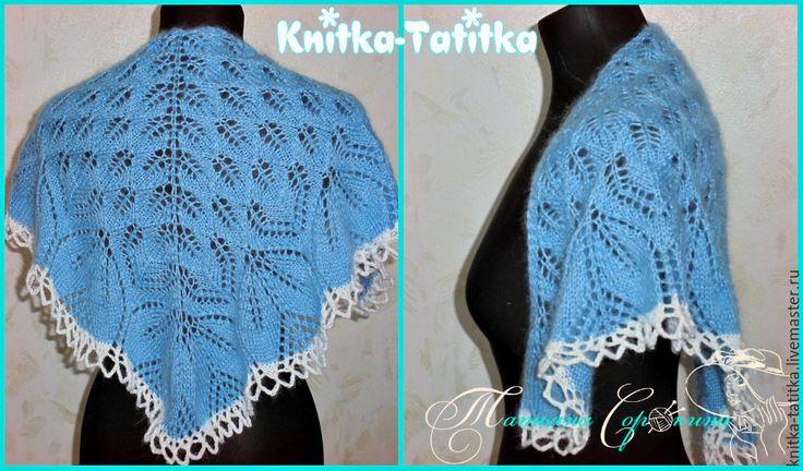 Купить Мини шаль-платок - голубой, однотонный, платок, спицами, шаль, шаль спицами