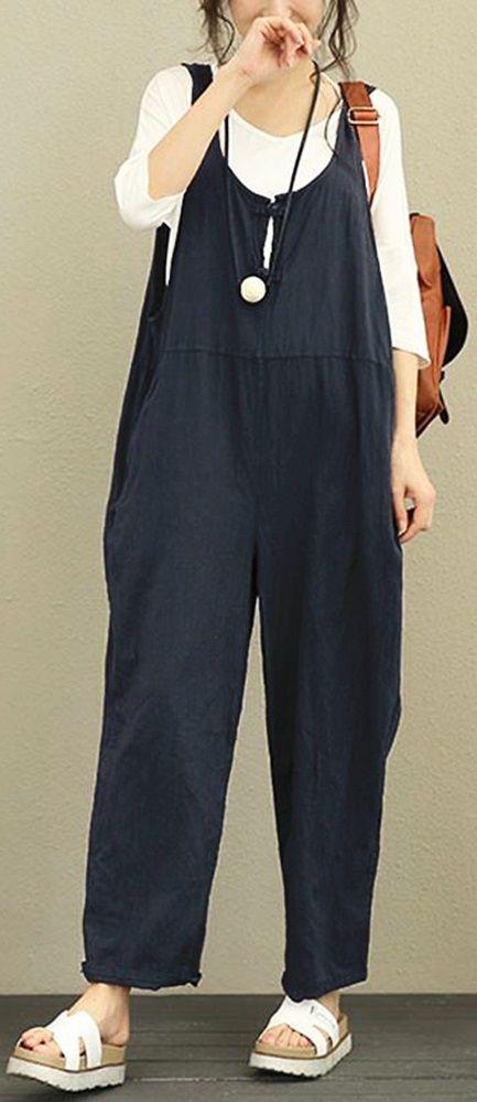 46% OFF! US$21.99 Plus Size Vintage Pure Color Frog Button Loose Women Sleeveless Jumpsuits SHOP NOW!