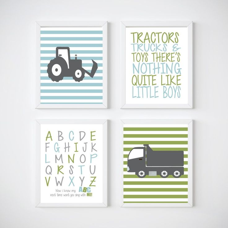 Tractor and Trucks Nursery Room Wall Decor, Print your own decor