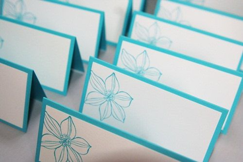 Turquoise Flower Wedding Place Cards Set by LaurasPaperCreations, $9.25