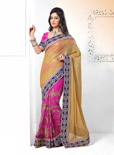 Brown and Pink Resham Work Saree