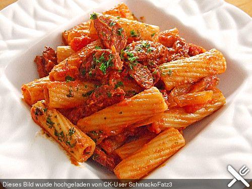 Pasta mit Chorizo - Zwiebel - Sauce