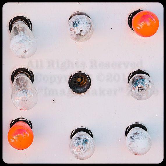 Las Vegas Wall Art, Light Bulb Sign, Orange Bulbs, White Art, Retro Bulb Sign, Old Light Bulbs, Fine Art Photograph, Tic Tac Toe 8x8 Print