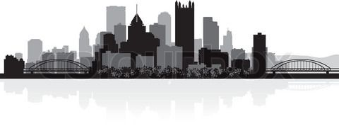 Vector of 'Pittsburgh USA city skyline silhouette vector illustration'