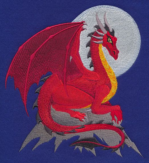 MEDIEVAL FANTASY DRAGON Bold Colors, Fierce Creature, Machine Embroidered Quilt Block, Panel, Square