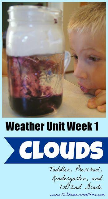 Weather Unit Week #1 - CLOUDS. Hands on homeschool science fun for toddler, preschool, kindergarten, and 1st & 2nd grade.