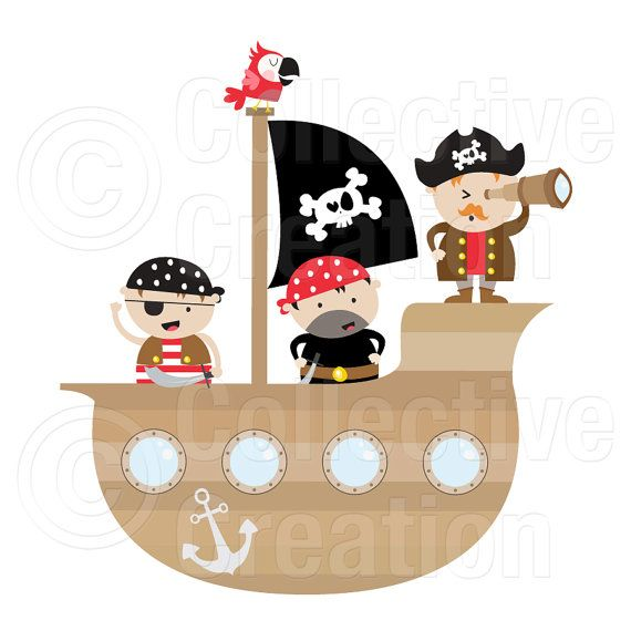 Piratas y pirata barco Digital Clip Art Set por CollectiveCreation