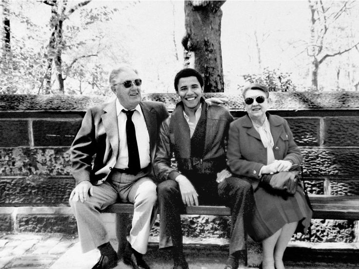 US President Barack Obama with his grandparents, Stanley Armour Dunham and Madelyn Dunham, in New York in the 1980s.