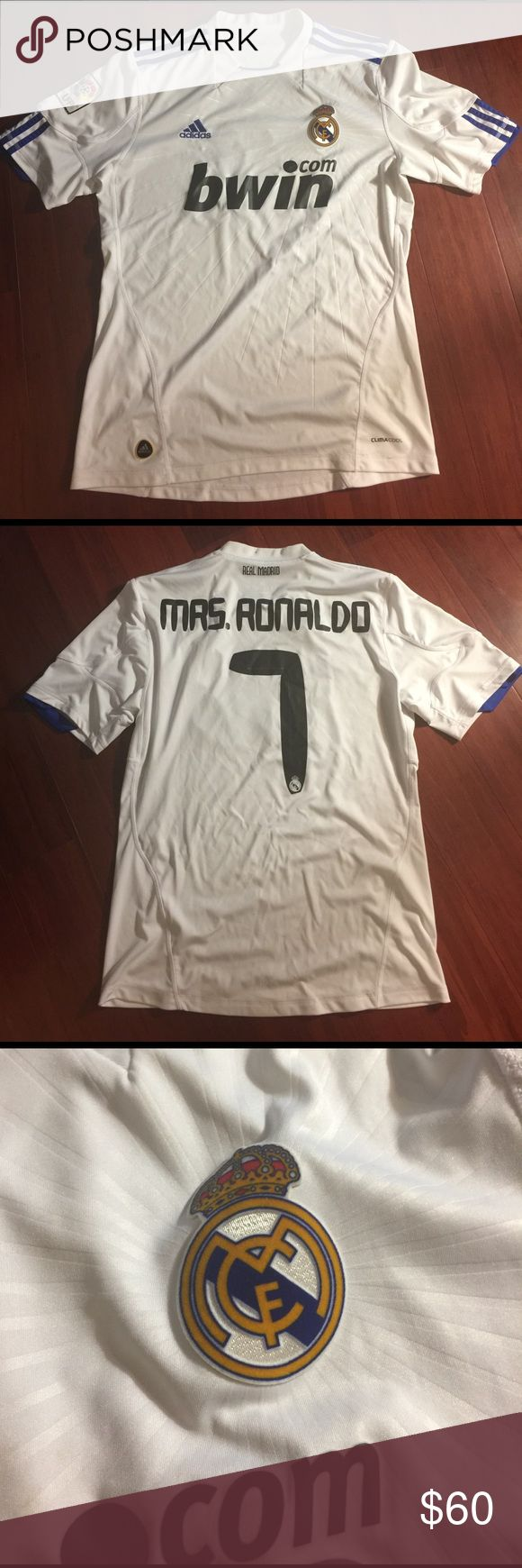 Calling all Cristiano Ronaldo Fans Real Madrid Soccer Jersey Men's Medium . Costume Made for a Mrs. Ronaldo back name Adidas Other