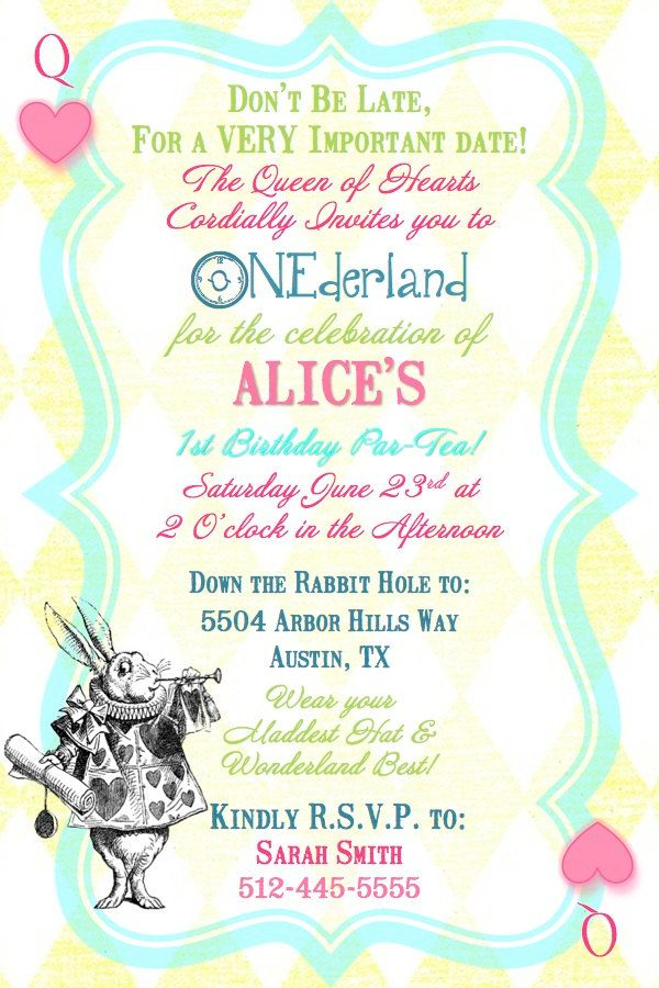 Alice in Wonderland Queen of Hearts 1st Birthday Tea Party Invitation- Digital Printable File. $15.00, via Etsy.