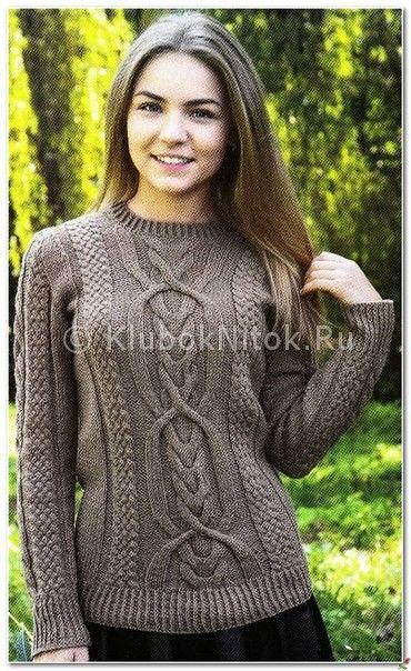 Коричневый пуловер с аранами | Вязание для женщин | Вязание спицами и крючком. Схемы вязания.