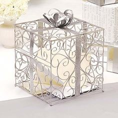Ornate Metal Reception Card Box by Beau-coup