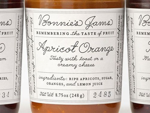 jam jar labels, play between fonts