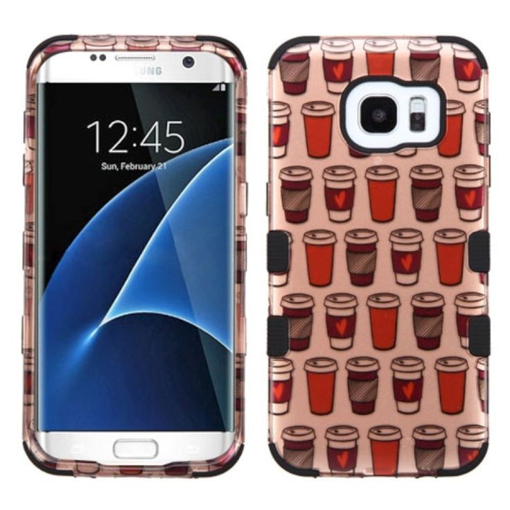 Insten Rose Give Me Coffee Tuff Hard PC/ Silicone Dual Layer Hybrid Rubberized Matte Case Cover For Samsung Galaxy S7 Edge