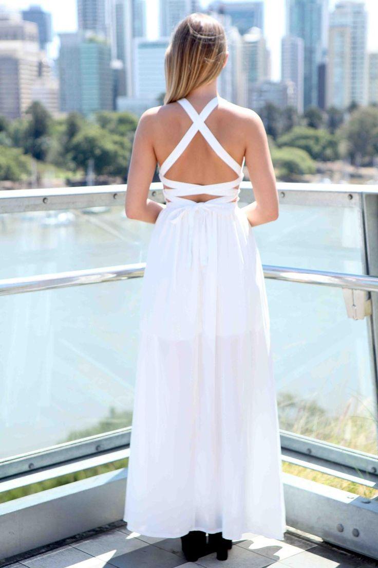 White Criss Cross Back Maxi Dress Open Back Tops