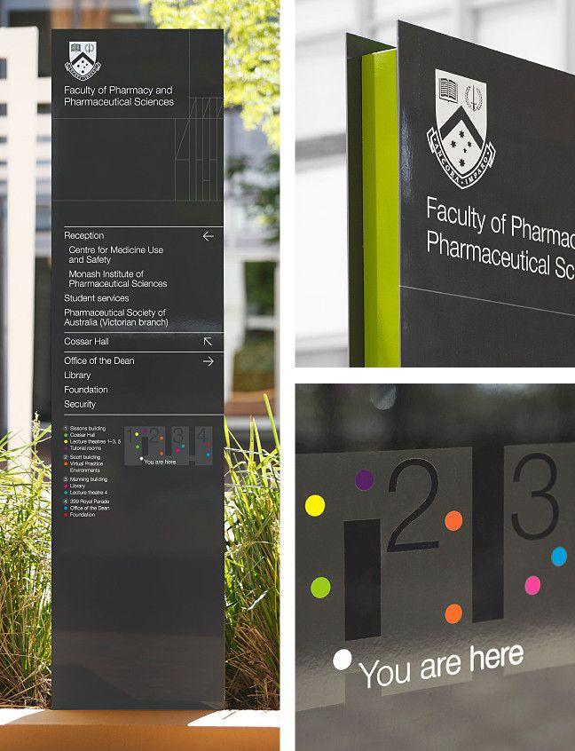 Outdoor freestanding directional pylon sign at Monash University Pharma by Hofstede Design
