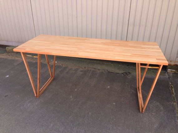 DESK: No. 3 Natural  Beautiful Original Solid by HardmanDasein Love the legs (like upside down saw horses).
