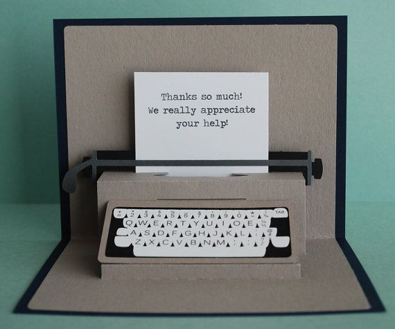 Typewriter pop-up card.     So amazing.