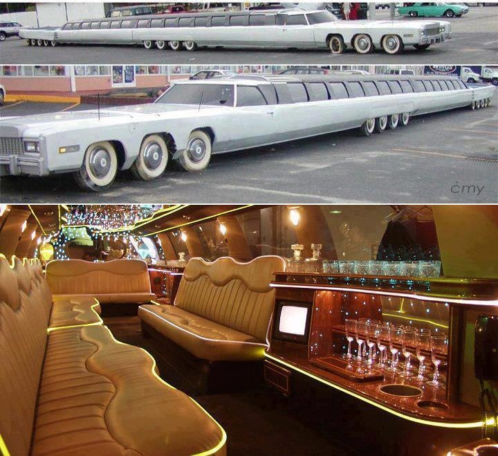 World Of Amazing Pictures  Worlds Longest Car: The Limousine    The Limousine has 26 wheels and can be driven rigidly or adjusted to bend in the middle around corners. This incredible car is currently in the Guinness Book of World Records as the longest car in the wor...  ld and even has two driver's compartments – one at each end – to help with reversing.