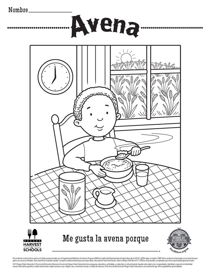 Free Printable Childrens Coloring Sheet In Spanish Oats Food Hero