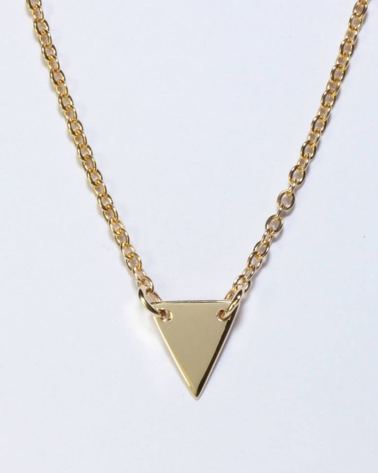 9ct solid yellow gold triangle necklace- handmade by Brown + Brown Jewelry.