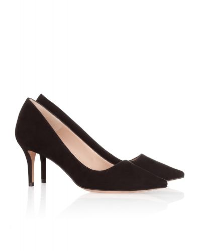 Zapatos de salón en ante negro con punta fina