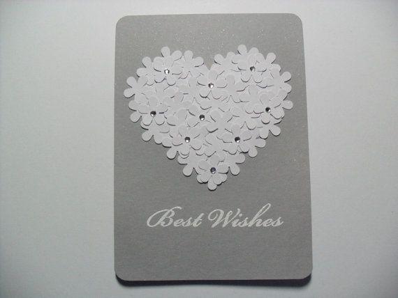 SALE - Handmade Engagement/Wedding Card - Bridal Shower Card - Best Wishes - Flower Heart Card