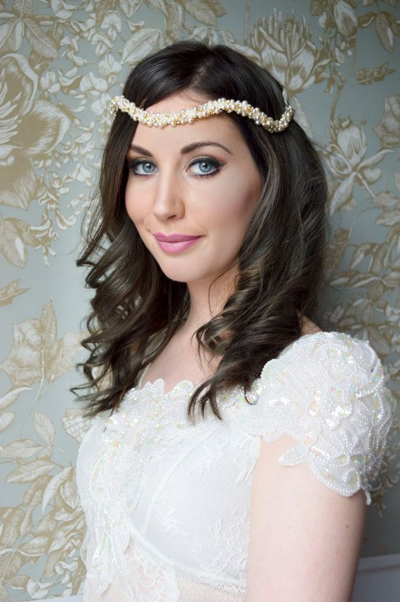 Bridal Hairpiece, Crystal Halo, Pearl Headband, Hair Jewelry, Wedding Hair Accessories, Vintage style