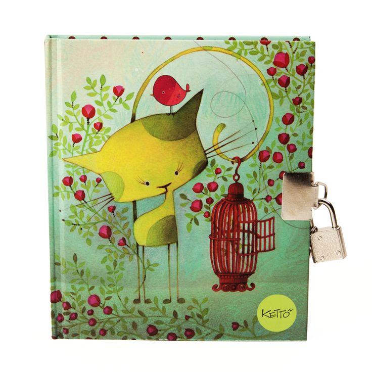 Journal Intime Oiseau en Cavale KETTO Journal with Padlock Bird on the Run // Couverture rigide. Cadenas métallique. Pages lignées. // Hard cover. Metal padlock. Lined pages. // #JournalIntime #JournalWithPadlock #Ketto