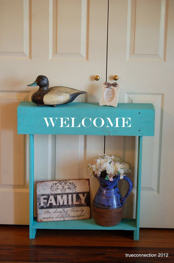 WELCOME Console Table Small Console Table Teal by TRUECONNECTION, $195.00
