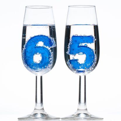 65 jaar in champagne glazen.  Design Birthday Card / Verjaardagskaart by Lovoto www.kaartje2go.nl