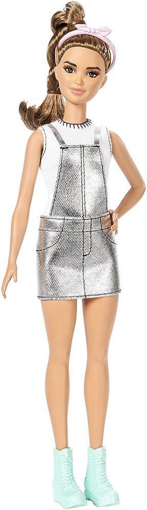 NEW! 2017 Barbie Evolution Fashionista Doll ~ Latina Silver Jumper Dress NIB #Mattel