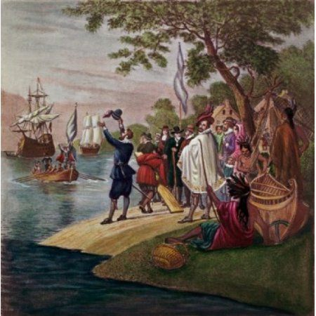 Landing at Jamestown 1607 17th Century English School Canvas Art - (24 x 36)