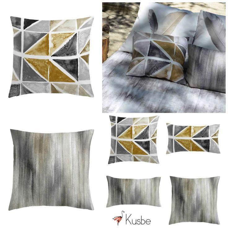 Busca los cojines que mejor coordinen con tu ropa de cama. Viste tu cama con colores beige y piedra. Colcha tipo bouti T.Vaquero Piedra y Cojines a juego de Kusbe.  #colcha #bouti #colchamarron #colchabeige