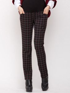 Casual Red Cotton Blend Plaid Pattern Maternity Pants