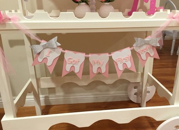 TOOTH PARTY BANNER First Tooth Party  Bow by PoshMyParty on Etsy