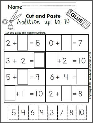 free cut and paste addition math worksheet for adding up to 10 math for special education. Black Bedroom Furniture Sets. Home Design Ideas