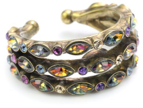 """Sorrelli """"Aurora Sky"""" Multi-Crystal Petal Band Gold-Tone Ring Sorrelli. $63.80. Store in a dry place. Made in China"""