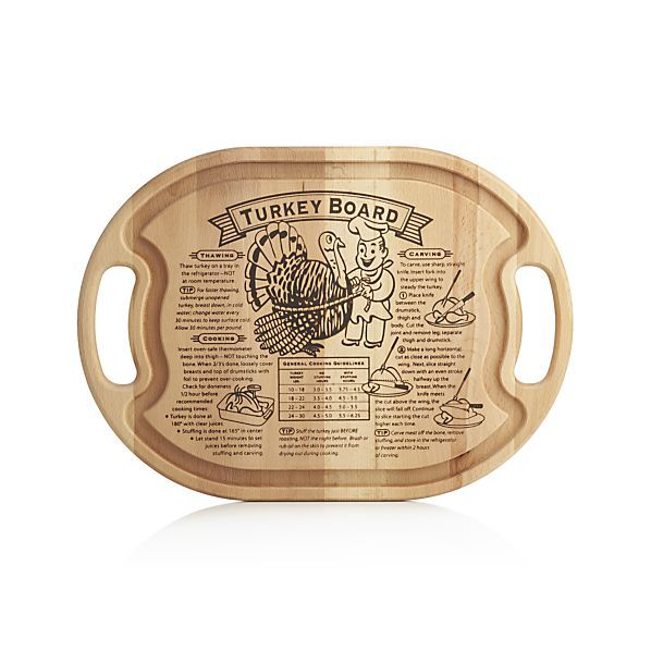 A thorough turkey prep story is burnished into our exclusive carving board, handcrafted of solid American maple with a distinctive oval design featuring integrated carrying handles. The curvaceous, continuous trench directs juices away from the meat to be reserved for sauces, glazes and gravies. Follow the board's three crucial steps of preparing a turkey and general cooking guidelines, then carve away.