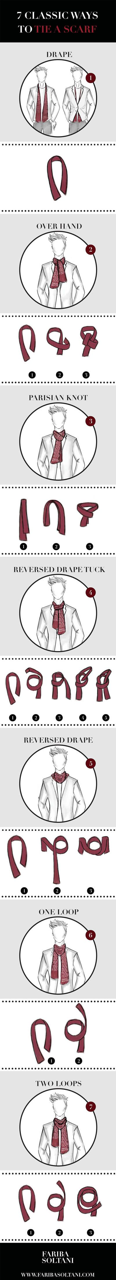 7 classic ways to tie a scarf- This infographic is aimed to answer the question we received from many people as how to tie a scarf. We decided to create an infographic to show step by step how to style your scarf in 7 classic ways.