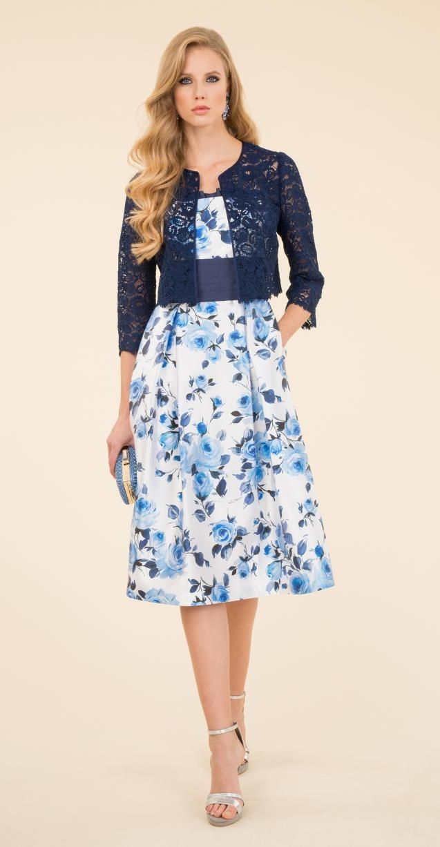 Floral silk dress with lace jacket.