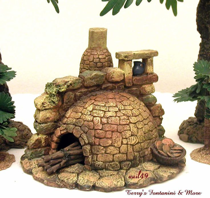 """FONTANINI ITALY 5"""" LITED STONE BAKING OVEN 2001 NATIVITY VILLAGE 55511 BOX in Collectibles, Decorative Collectibles, Decorative Collectible Brands 
