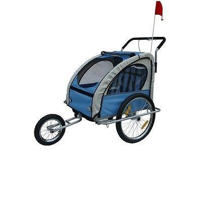 NEW-2-1-BLUE-BICYCLE-TRAILER-STROLLER-JOGGER-CHILDREN-KIDS
