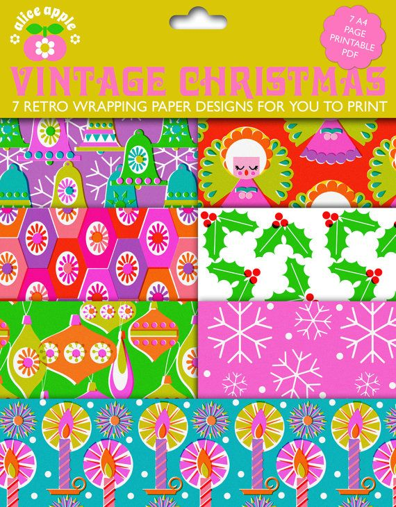 Vintage Style Christmas Wrapping Paper PDF by alice by aliceapple, £2.00